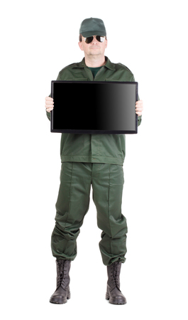 security monitor: Security officer shows monitor. Isolated on a white background. Stock Photo