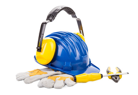 casque: Various working equipment. Isolated on a white background.