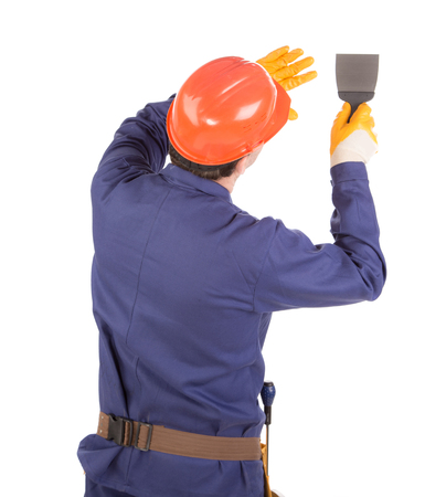 construction equipment: Worker with spatula. Isolated on a white background. Stock Photo