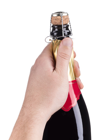 uncork: Champagne opening. Isolated on a white background.