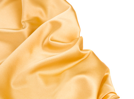 Closeup of yellow silk cloth texture. Whole background.