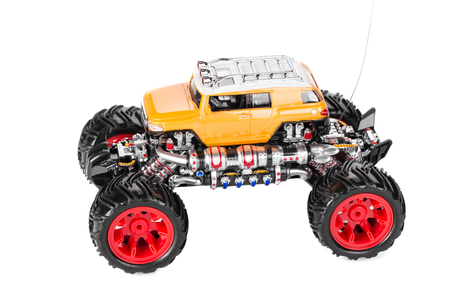 unkind: Big truck toy. Isolated on a white background. Stock Photo