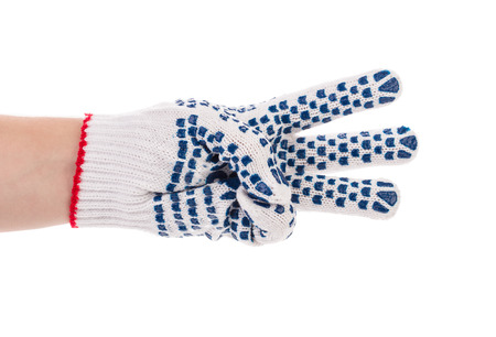 three fingers: Thin work gloves shows three fingers. Isolated on a white background.