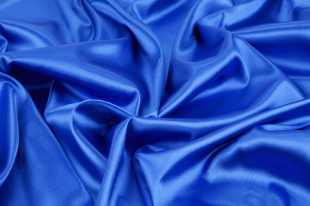 blue silk: Close up of blue silk cloth. Whole background. Stock Photo