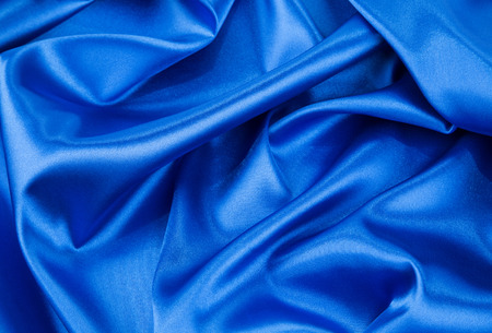 Blue drapery silk fabric