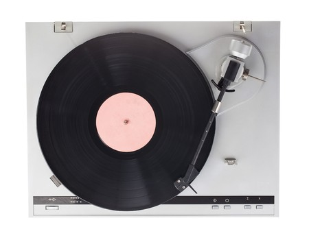 78 rpm: Analog music player isolated on white background