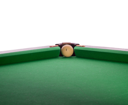 snooker hall: Billiard ball in a pool table in the closeup Stock Photo