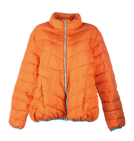 jupe: orange jacket isolated over white background closeup