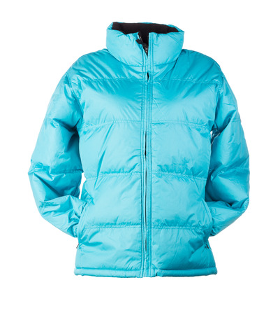 jupe: blue jacket isolated over white background closeup Stock Photo
