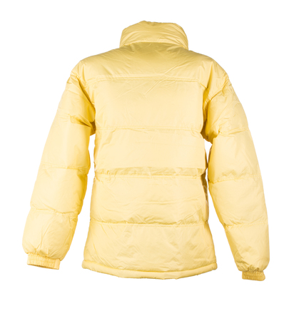 jupe: yellow jacket isolated over white background closeup Stock Photo