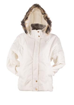 jupe: white jacket isolated over white background closeup