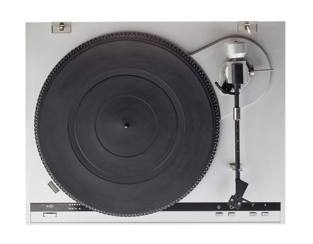 Analog music player isolated on white background