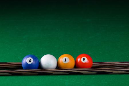 pool halls: Billiard balls 2015 in a pool table in the closeup
