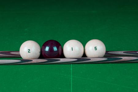 pool halls: Billiard balls in a pool table in the closeup