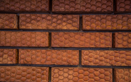 grout: Red brick wall texture with dark grout