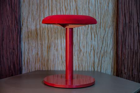 stool: Red american dinner stool with velvet seating Stock Photo