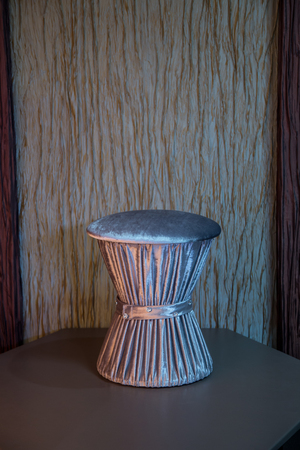 pouffe: Contemporary grey velvet pouffe with beautiful diamante belt