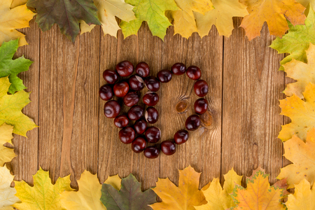 configured: Autumn leaves frame on the wooden background and a heart configured from chestnuts Stock Photo