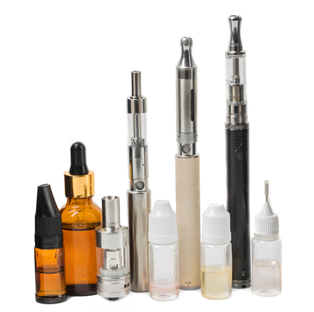 inhalator: Various modern electronic cigarette vaporizers. Isolated on a white background.