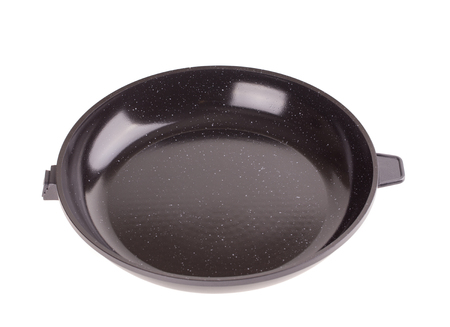 nonstick: A non-stick frying pan with detachable handle isolated on white background