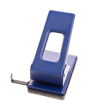 puncher: Blue office hole puncher. Isolated on a white background. Stock Photo