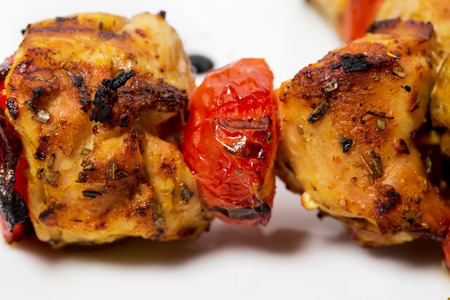 kabob: Delicious shish kebab on skewers closeup. As a whole background.