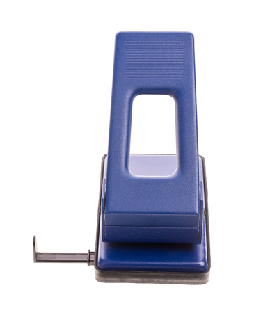 hole puncher: Blue office hole puncher. Isolated on a white background. Stock Photo
