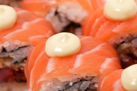 tuna mayo: Uramaki salmon roll with scallop. Can be used as a background.