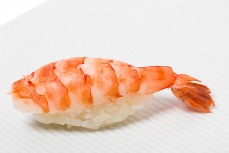 tiger shrimp: Traditional tiger shrimp nigiri sushi. Can be used as a background,. Stock Photo