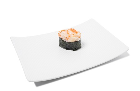 plates of food: Gunkan sushi with scallop and tobiko caviar. Isolated on a white background. Stock Photo
