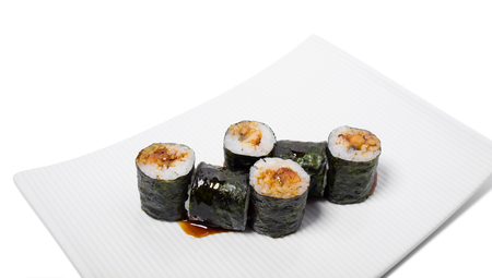 maki: Traditional japanese maki unagi roll. Isolated on a white background. Stock Photo