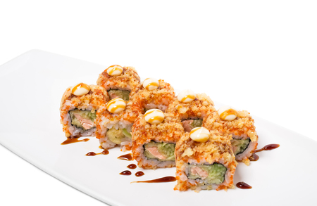 crunch: American warm crunch roll sushi. Isolated on a white background.