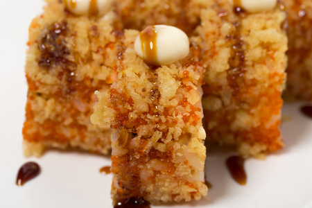 crunch: American warm crunch roll sushi. Can be used as a background.