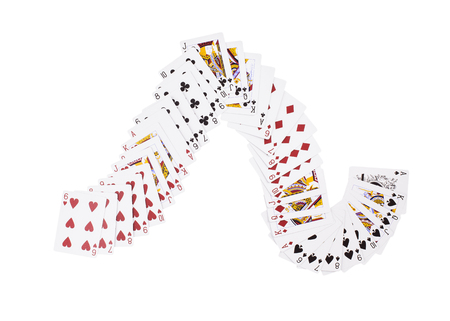 unpacked: New unpacked playing cards. Isolated on a white background.