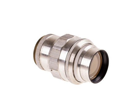 telephoto: Telephoto metal old lens. Isolated on a white background.