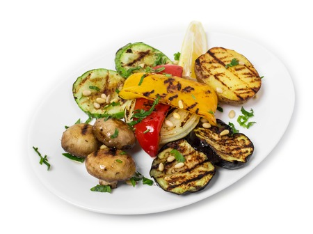 grilled vegetables: Delicious grilled vegetables. Isolated on a white background.
