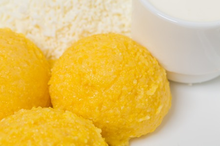moldovan: Traditional moldovan mamaliga porridge. Can be used as a whole background. Stock Photo