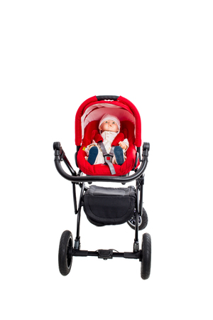 modern doll: New red modern pram with doll. Front view. Isolated on a white background. Stock Photo