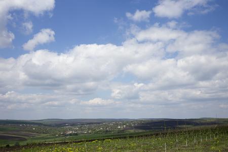 View of the village. Rural landscape.