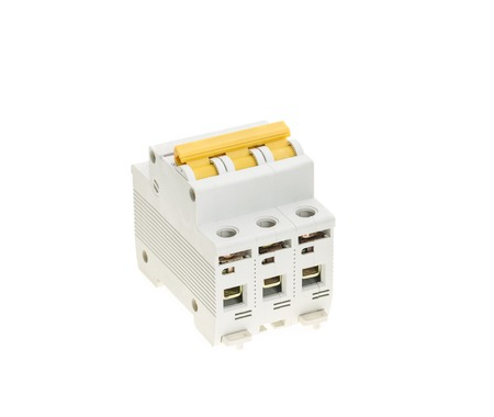 breaker: Automatic circuit breaker. Isolated on a white background. Stock Photo