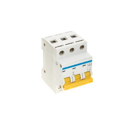Automatic circuit breaker. Isolated on a white background. Stok Fotoğraf