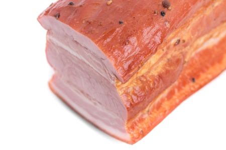 belly pepper: Delicious smoked pork belly. Isolated on a white background.