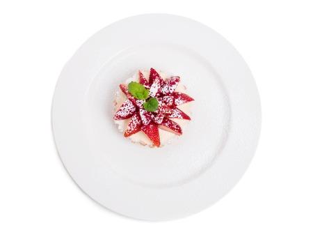shortcake: Delicious strawberry shortcake with whipped cream. Isolated on a white background. Stock Photo