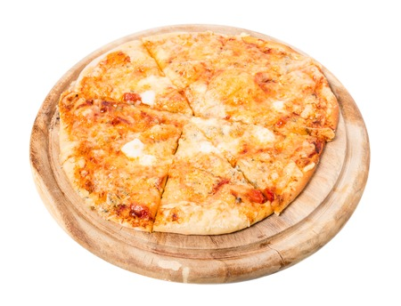 neapolitan: Delicious neapolitan pizza with mozzarella and ham on wooden platter. Isolated on a white background.
