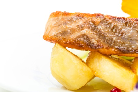 roast potatoes: Grilled salmon fillet with roast potatoes. Macro. Photo can be used as a whole background.