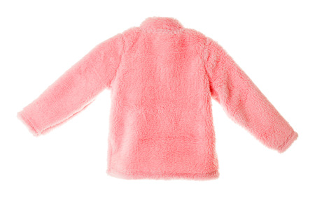 faux: Pink faux fur jacket for girls. Isolated on a white background.