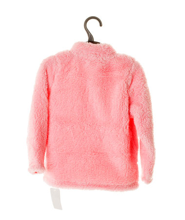 faux: Pink faux fur jacket for girls on plastic hanger. Isolated on a white background.