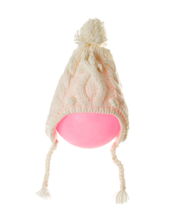 knitten: Knitten wool white cap on a balloon. Isolated on a white background.