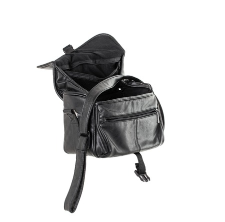 opened bag: Opened old black leather bag. Isolated on a white background. Stock Photo
