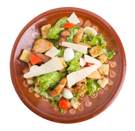 chicken caesar salad: Delicious chicken caesar salad with parmesan. Isolated on a white background.